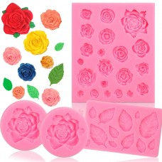 BAKHUK 4pcs Flower Fondant Candy Mold, Roses and Leaves Collection Silicone Fondant Mold for Chocolate, Sugercraft Cake Decoration Kit