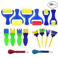 BAKHUK 16pcs Mini Painting Foam Sponge Brush Tools For Kids Painting Learning