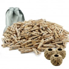 BAKHUK 300 Feet Jute Twine 200 Pieces Mini Natural Wooden Craft Clothespins Pegs Clips  Photo Clips
