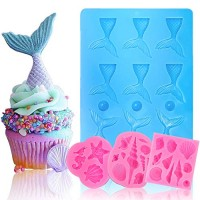 BAKHUK Seashell Mermaid Tail Mold, 4 Pack Silicone Fondant Mold for Decorating Ice, Chocolate, Candy, Sugar, Jelly, etc.