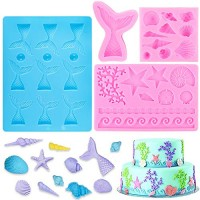 BAKHUK 4pcs Seashell Mermaid Tail and Seaweed Mold for Making Chocolate and Candy, Decorating Marine Themed Cakes