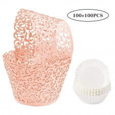 BAKHUK 200pcs Lace Cupcake Wrapper and Cupcake Liner Kit, Artistic Laser Little Vine Baking Cups Holders Muffin Case Trays for Wedding Birthday Party Cake Decoration