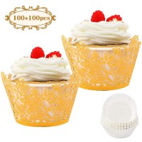 BAKHUK 200pcs Gold Rose Lace Cupcake Wrapper and Baking Cup, Artistic Flowers and Leaves Baking Cupcake Paper Cup Laser Cut Liner, Muffin Cake Cup for Wedding Party, Birthday Cake Decoration Supplies