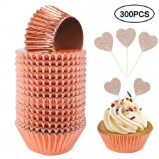 BAKHUK 300pcs Rose Gold Cupcake Liner and Glitter Cupcake Toppers, Standard Size Foil Baking Cup Muffin Case Decoration Cups