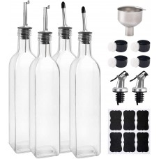 4 Pack, Glass Olive Oil Dispenser Bottle, Cooking Oil and Vinegar Cruet with 6pcs Stainless Steel Pouring Spouts (3 Types), Funnel and Labels, 17oz, 500ml