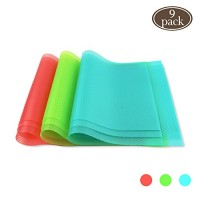 "BAKHUK 9pcs Refrigerator Mats (11""X17.7"") EVA Shelf Liners Refrigerator Liners Fridge Mats Drawer Table Placemats Pink Green Blue"